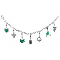JBT13   Rhodium Plated Emerald Isles Charm Bracelet Jewelari of London