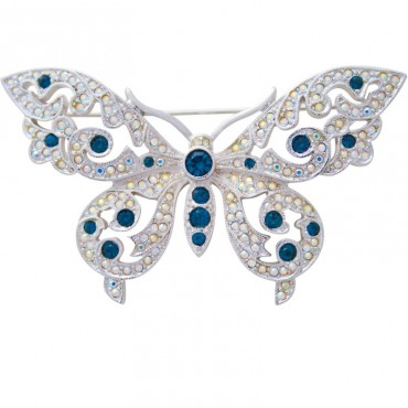 JB116   Rhodium Plated Metal Alloy and Austrian Crystal Butterfly Brooch Jewelari of London