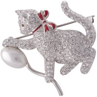 JB12   Rhodium Plated Metal Alloy, Austrian Crystal and Pearl Cat and Balloon Brooch Jewelari of London