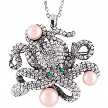 JB208   Rhodium Plated Octopus Brooch / Pendant with Crystals Jewelari of London