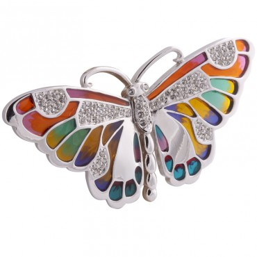 JB57   Rhodium Plated Rainbow Butterfly Brooch Jewelari of London