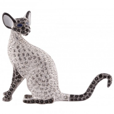 JB168   Rhodium Plated Siamese Cat Brooch Jewelari of London