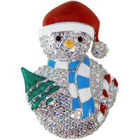 JB154   Rhodium Plated Snowman Brooch Jewelari of London