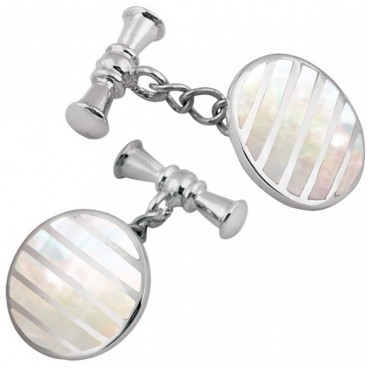 CU394 Ari D Norman Sterling Silver and Mother of Pearl Striped Round Cufflinks