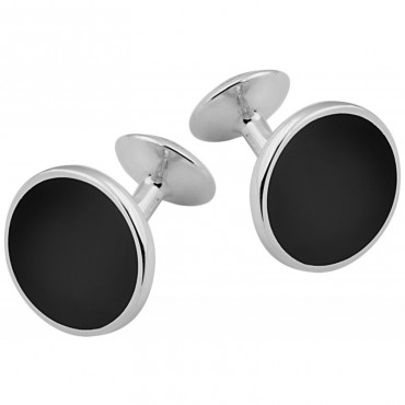 CU460 Ari D Norman Sterling Silver and Onyx Round Cufflinks