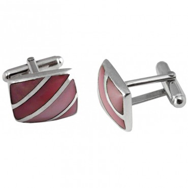 CU382 Ari D Norman Sterling Silver and Pink Shell Striped Cufflinks