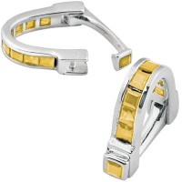 CU571 Ari D Norman Sterling Silver Citrine Wrap Around Cufflinks