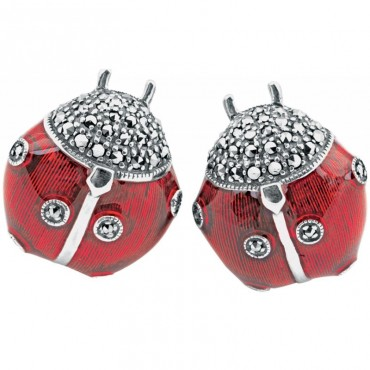 CU513 Ari D Norman Sterling Silver Enamel and Marcasite Set Ladybird Cufflinks