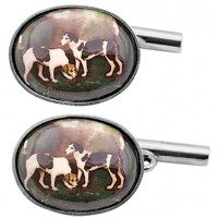 CU459 Ari D Norman Sterling Silver Enamel Gun Dog Hunting Cufflinks