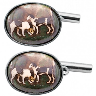 CU459 Ari D Norman Sterling Silver Enamel Gun Dog Cufflinks