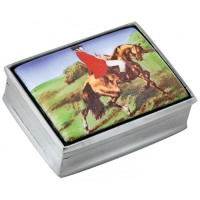 PB302   Ari D Norman Sterling Silver Fox Hunting Picture Pill Box