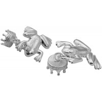 CU504 Ari D Norman Sterling Silver Frog and Crown Cufflinks