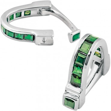 CU454 Ari D Norman Sterling Silver Green Cubic Zirconia Wrap Around Cufflinks