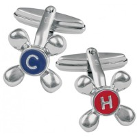 CU483 Ari D Norman Sterling Silver Hot and Cold Tap Cufflinks