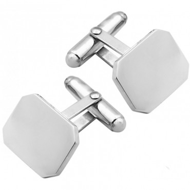 CU417 Ari D Norman Sterling Silver Plain Rectangular Cufflinks