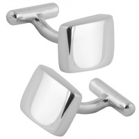 CU582 Ari D Norman Sterling Silver Plain Rectangular Cufflinks