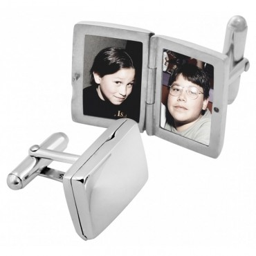 ​CU462 Ari D Norman Sterling Silver Plain Rectangular Locket Cufflinks