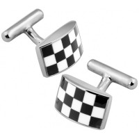 CU438 Ari D Norman Sterling Silver Rectangular Checkered Cufflinks