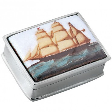 PB310   Ari D Norman Sterling Silver Ship Picture Pill Box