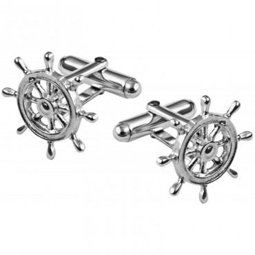 CU538 Ari D Norman Sterling Silver Ship's Wheel Cufflinks