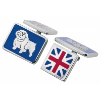 CU516 Ari D Norman Sterling Silver Union Jack and British Bulldog Cufflinks