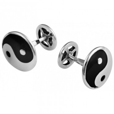 CU383 Ari D Norman Sterling Silver Yin and Yang Enamel Cufflinks